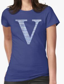 Letter V Blue Watercolor Stripes Monogram Initial Womens Fitted T-Shirt