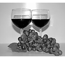 Wine and Grapes for Two in Black and White Photographic Print