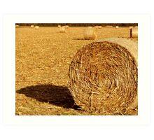 Hay Bales in October Art Print