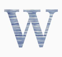 Letter W Blue Watercolor Stripes Monogram Initial Baby Tee