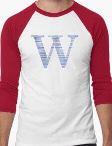 Letter W Blue Watercolor Stripes Monogram Initial Men's Baseball ¾ T-Shirt