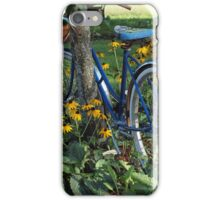 Flowers, country scene, old bicycle iPhone Case/Skin