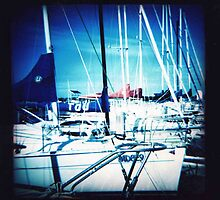 Blue yachts by Sally McColl