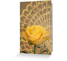 With Thanks Card  - Yellow Rose On Lace Background  Greeting Card