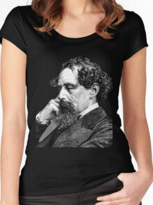 Charles Dickens portrait Women's Fitted Scoop T-Shirt