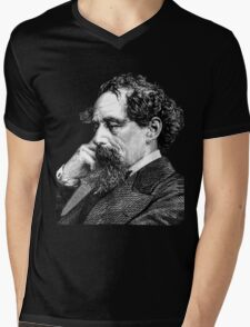 Charles Dickens portrait Mens V-Neck T-Shirt