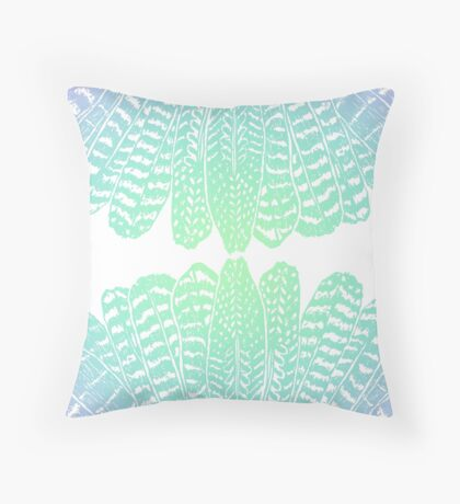Tribal Feathers Seafoam Throw Pillow