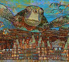 Sea Turtle over Atlantis by evisionarts