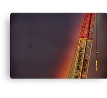 Helicopter flying into a rainbow Canvas Print