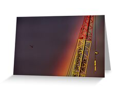 Helicopter flying into a rainbow Greeting Card