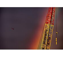Helicopter flying into a rainbow Photographic Print