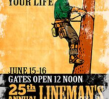 power lineman rodeo expo vintage poster by patrimonio