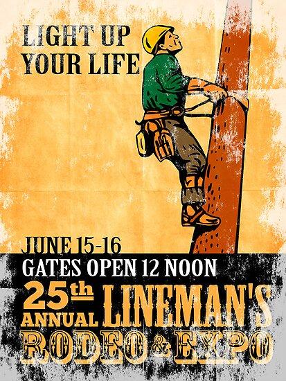 power lineman rodeo expo vintage poster by patrimonio