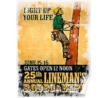 power lineman rodeo expo vintage poster Poster