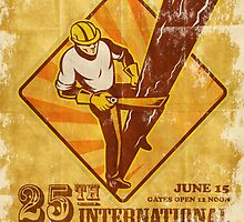 power lineman electrician vintage poster by patrimonio
