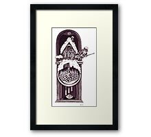 New Year clock surreal black and white pen ink drawing Framed Print