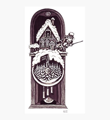 New Year clock surreal black and white pen ink drawing Photographic Print