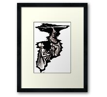 Rebirth surreal black and white pen ink drawing Framed Print