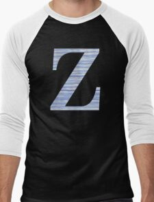 Letter Z Blue Watercolor Stripes Monogram Initial Men's Baseball ¾ T-Shirt