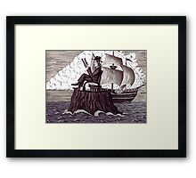 Reader surreal black and white pen ink drawing Framed Print