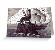 Reader surreal black and white pen ink drawing Greeting Card