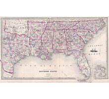 Vintage Map of The Southern United States (1868) Photographic Print