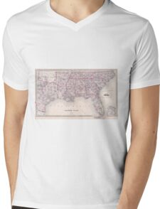 Vintage Map of The Southern United States (1868) Mens V-Neck T-Shirt
