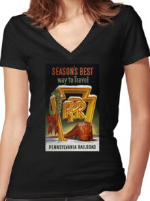 Season's Best Way to Travel Vintage Poster Women's Fitted V-Neck T-Shirt