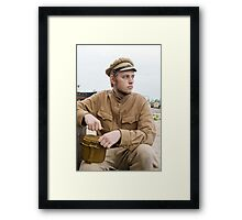 Soldier with boiler in retro style picture Framed Print