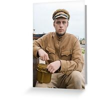 Soldier with boiler in retro style picture Greeting Card