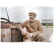 Soldier with boiler in retro style picture Poster