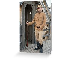 Retro style picture with soldier at sentry. Greeting Card
