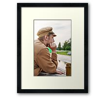 Portrait of soldier in retro style picture Framed Print