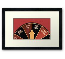 Scott Pilgrim's wheel of indecision Framed Print