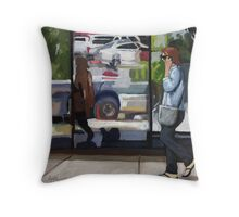 City Reflections - figurative cityscene oil painting Throw Pillow