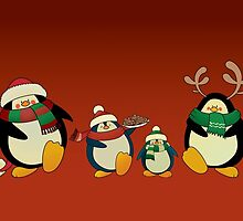 Penguin family greeting card by mangulica