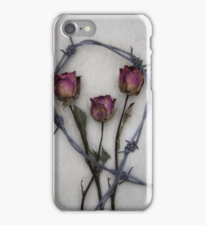three roses and barbed wire iPhone Case/Skin