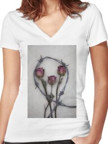 three roses and barbed wire Women's Fitted V-Neck T-Shirt