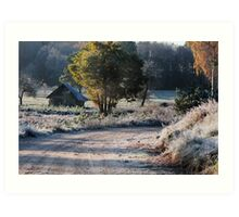 First frost and old barn Art Print