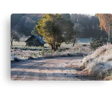 First frost and old barn Metal Print