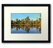 Fall Reflection Pond At Mae Stecker Park Framed Print