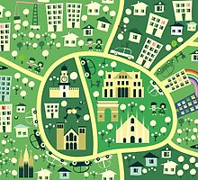 cartoon map of milan by Anastasiia Kucherenko