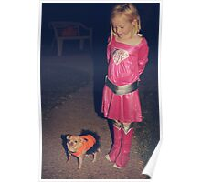 Two Little Girls in Costumes Poster