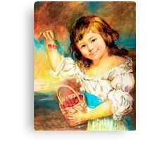 Cherry Basket girl. Canvas Print