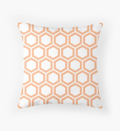 Peach honeycomb pattern on white background Throw Pillow