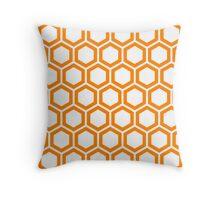 Orange honeycomb pattern on white background Throw Pillow