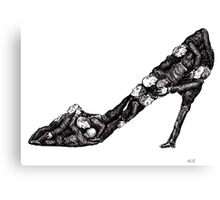 Shoe out of men surreal black and white pen ink drawing Canvas Print