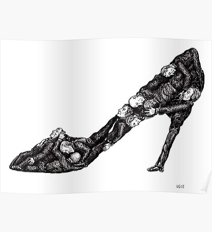Shoe out of men surreal black and white pen ink drawing Poster