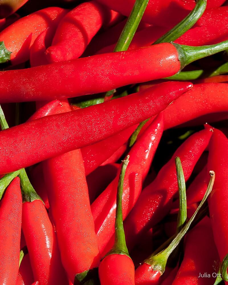Red chillies by Julia Ott