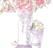 Coffee shop roses by Michelle Gilmore